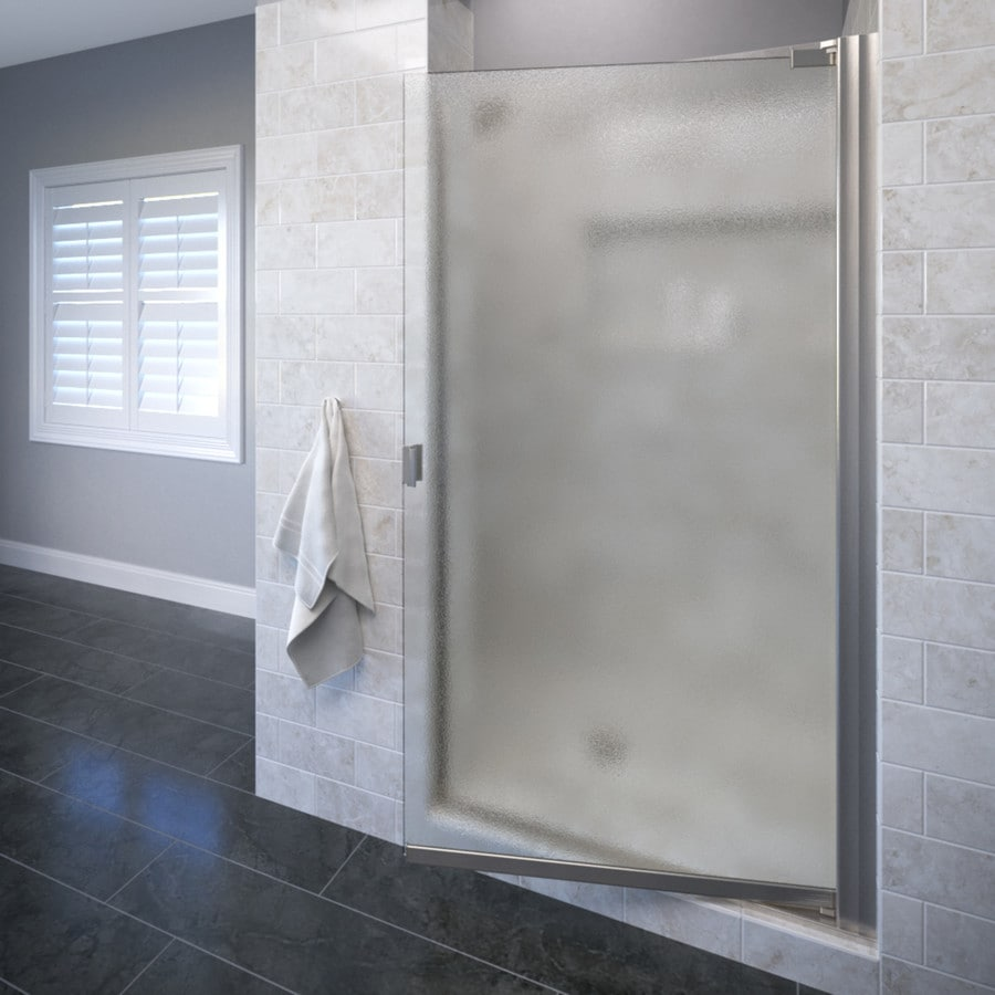 Basco Classic 34.125-in to 35.625-in Brushed Nickel Frameless Pivot Shower Door