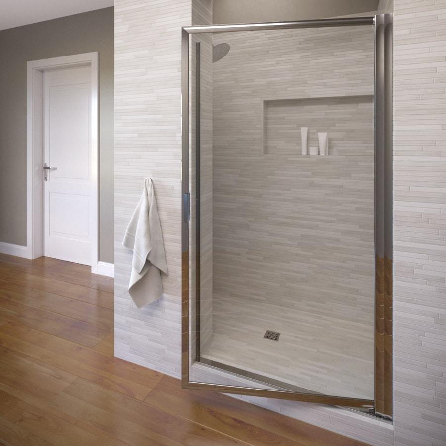 Basco Deluxe 22.75-in to 24.5-in Framed Brushed Nickel Pivot Shower Door