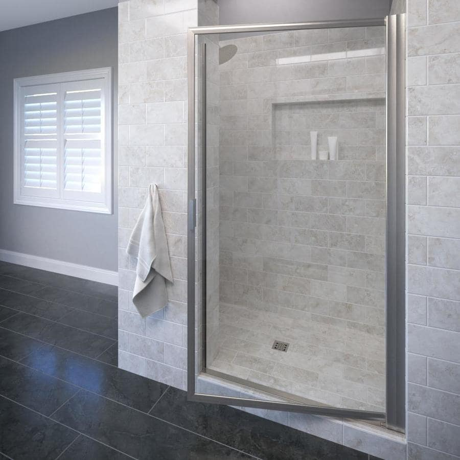 Basco Deluxe 33.125-in to 34.875-in Framed Brushed Nickel Pivot Shower Door