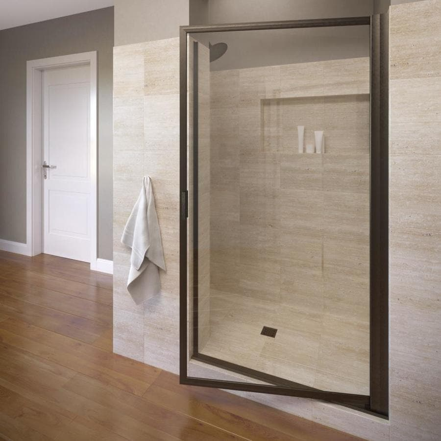 Basco Deluxe 35.125-in to 36.875-in Framed Oil-Rubbed Bronze Pivot Shower Door