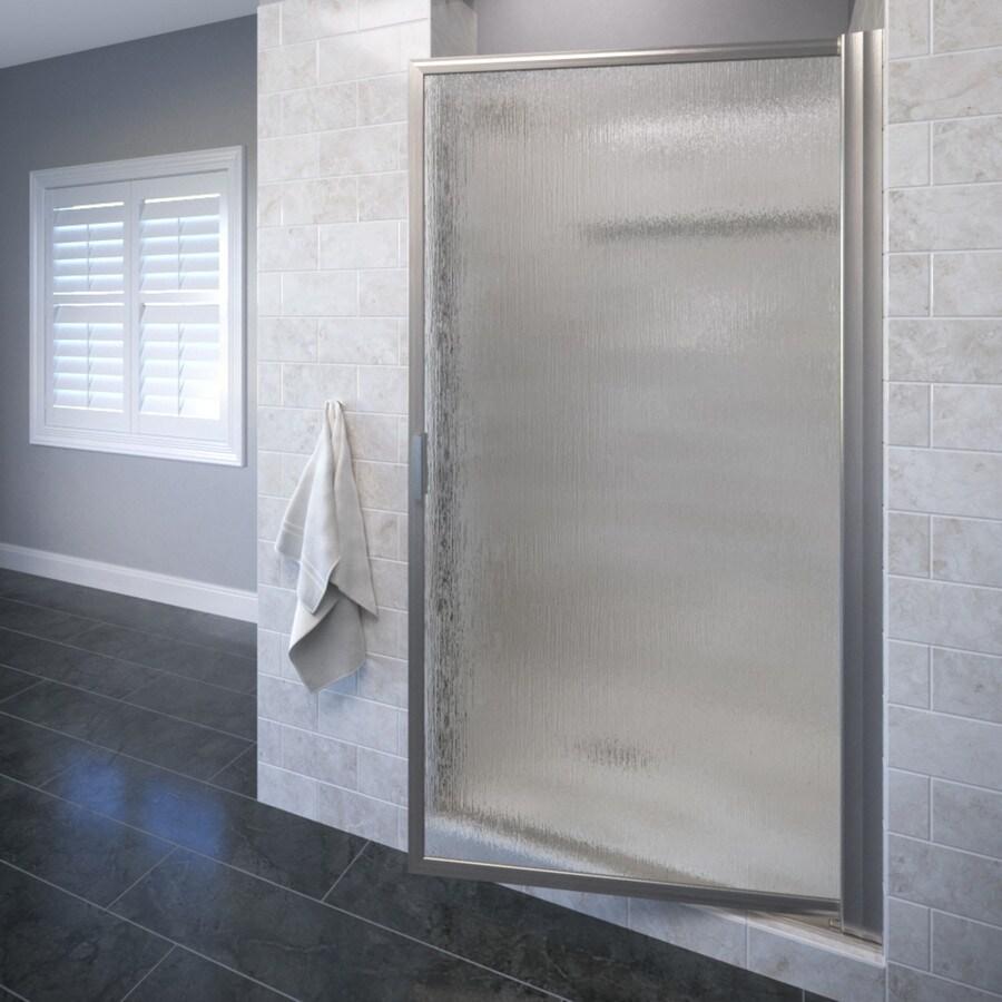 Basco Deluxe 24.75-in to 26.5-in Framed Brushed Nickel Pivot Shower Door