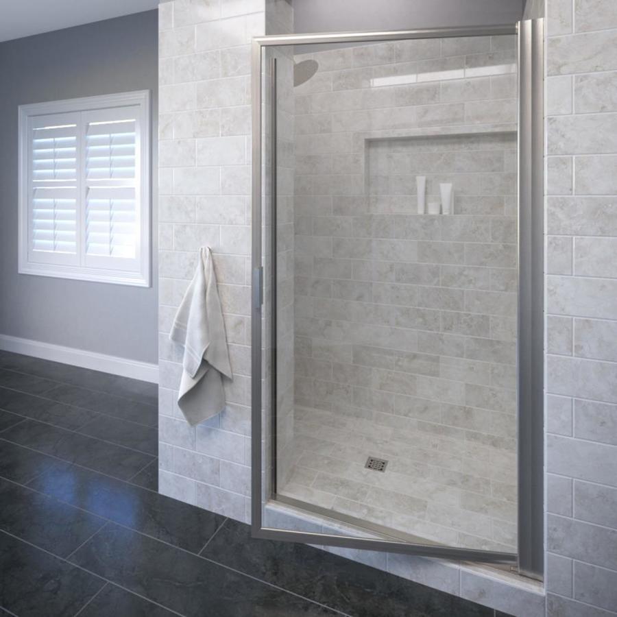 Basco Deluxe 31.125-in to 32.875-in Brushed Nickel Pivot Shower Door