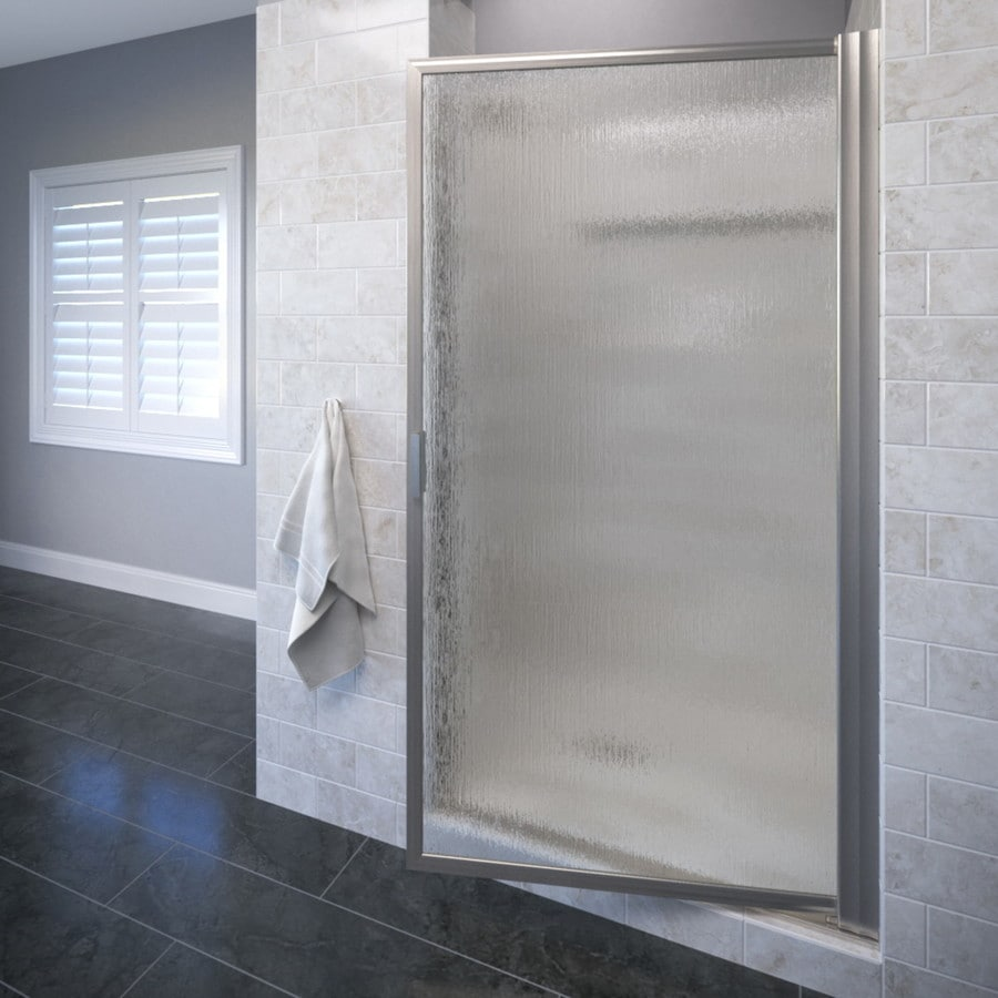Basco Deluxe 31.125-in to 32.875-in Framed Brushed Nickel Pivot Shower Door
