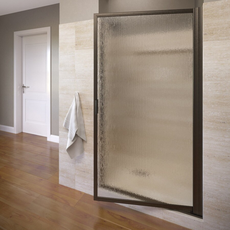 Basco Deluxe 33.125-in to 34.875-in Framed Oil-Rubbed Bronze Pivot Shower Door