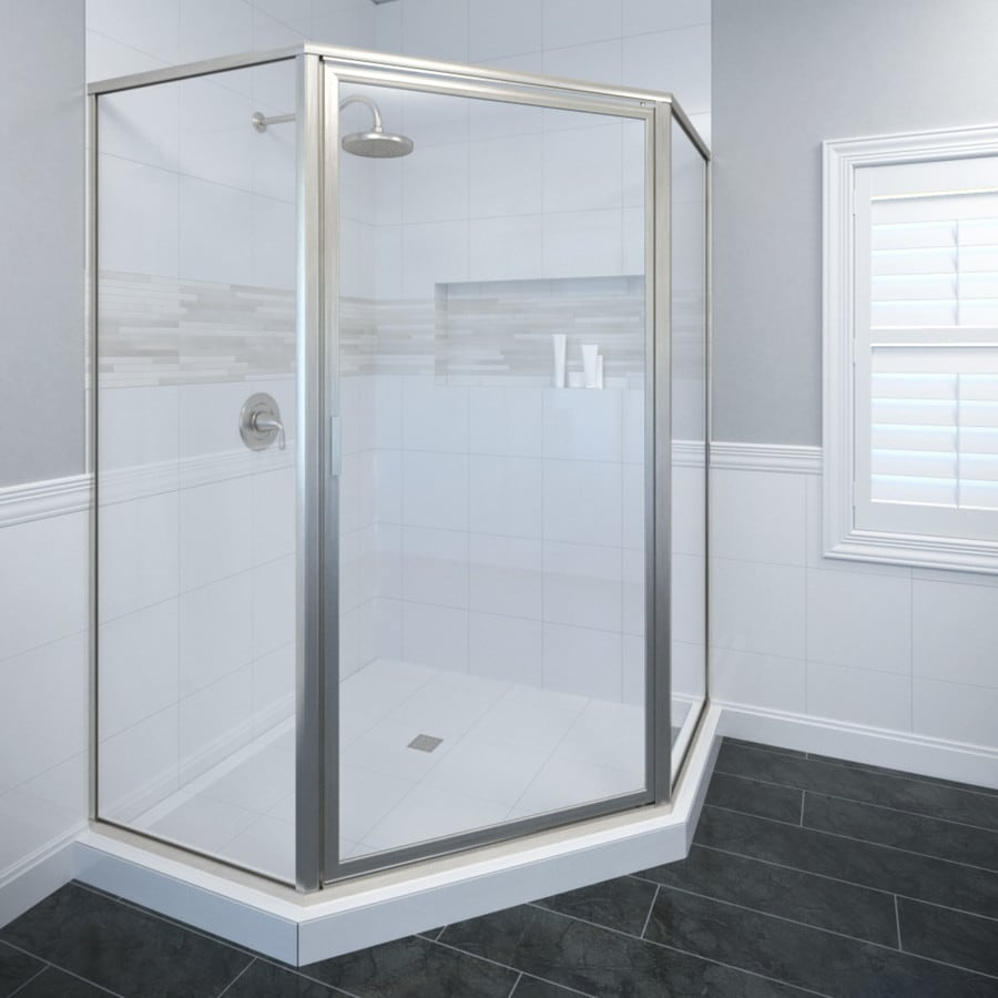 Basco Deluxe Thinline 49.875-in W x 68-5/8-in H Brushed Nickel Neo-Angle Shower Door