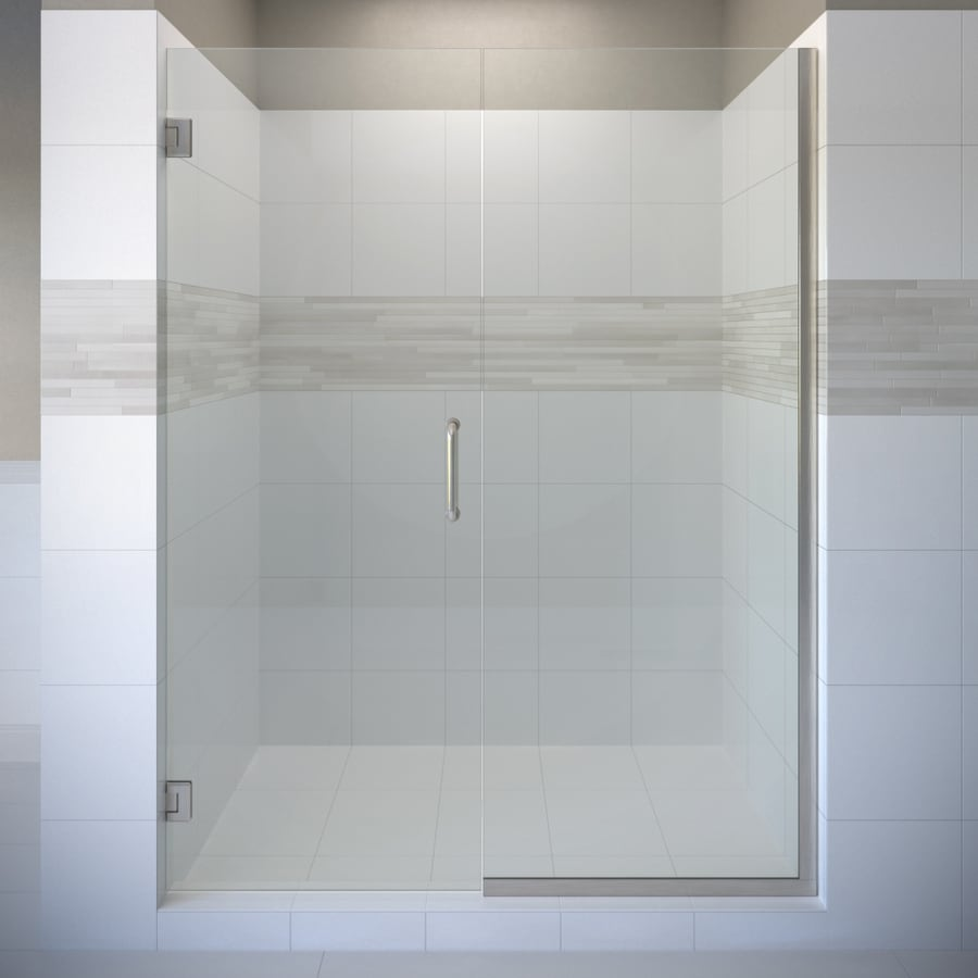 Basco Celesta 57-in to 58-in W Frameless Brushed Nickel Pivot Shower Door