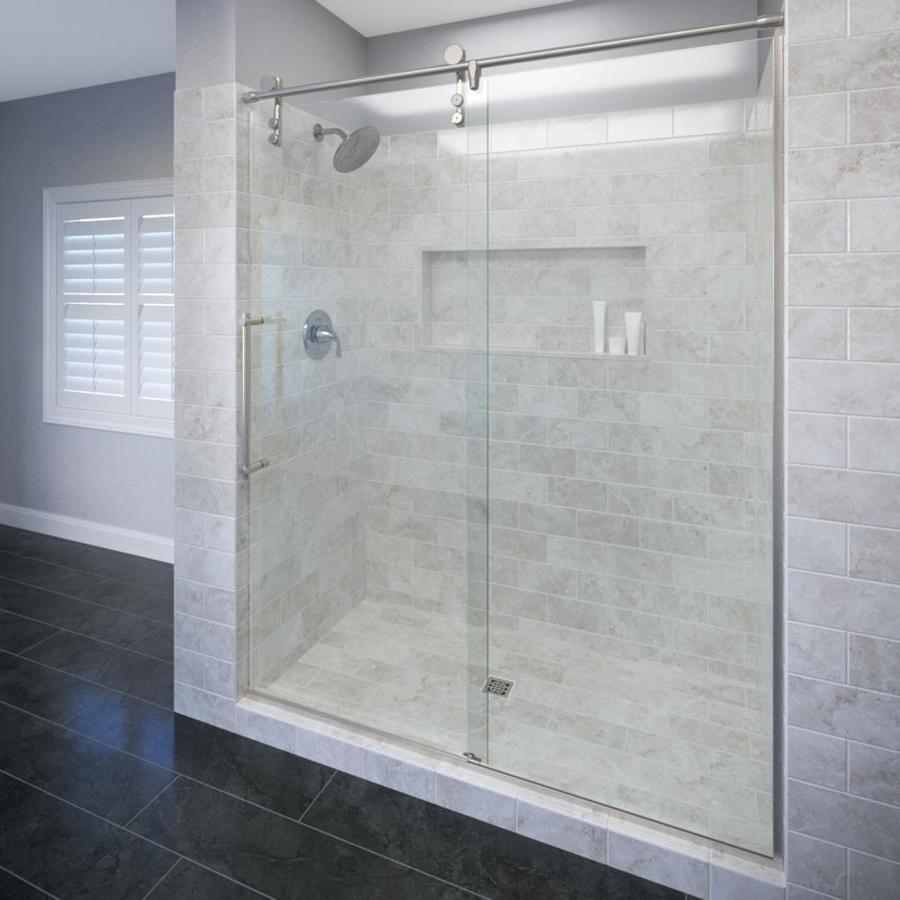 Basco RODA Rolaire 45-in to 47-in W x 76-in H Brushed Stainless Steel Sliding Shower Door
