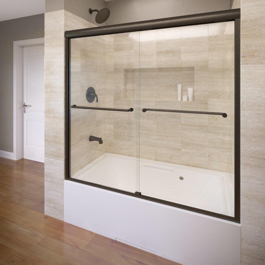 Basco 60-in W x 58.25-in H Oil-Rubbed Bronze Frameless Bathtub Door