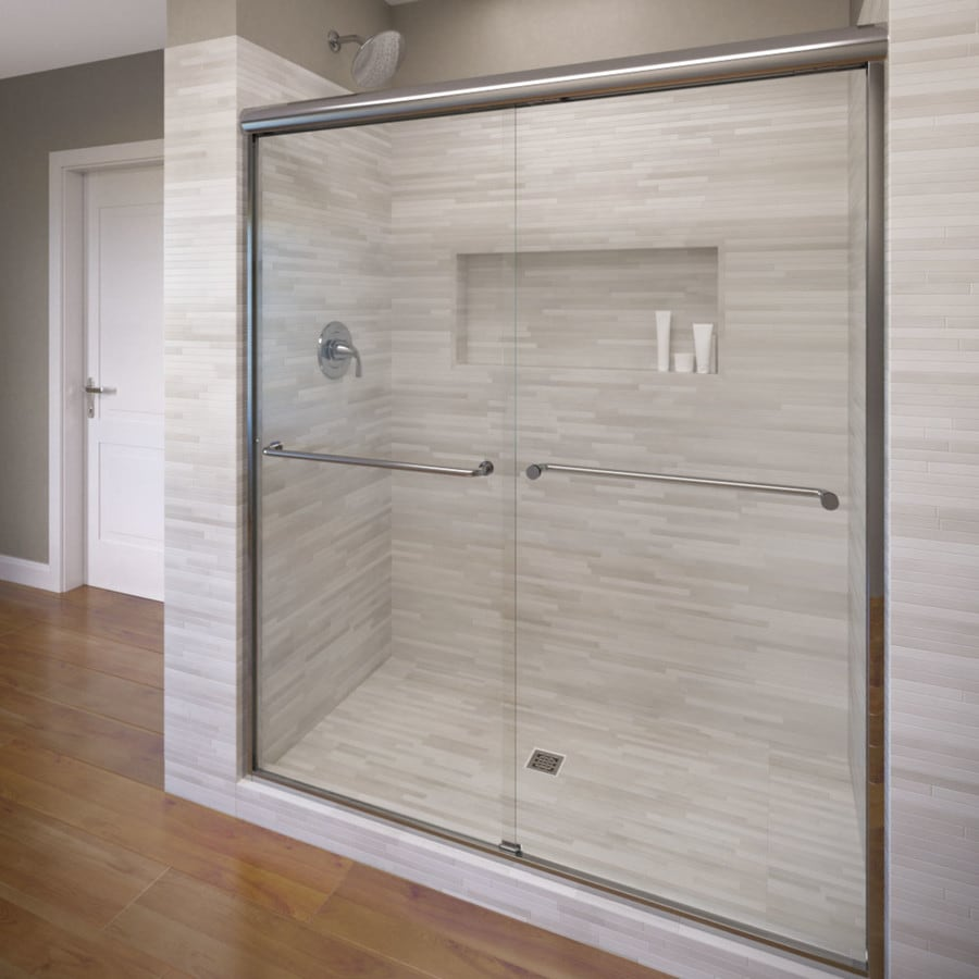 Basco Celesta 56-in to 60-in Frameless Silver Shower Door