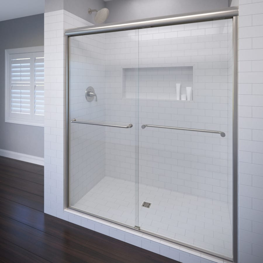 Basco Celesta 56-in to 60-in Frameless Brushed Nickel Sliding Shower Door