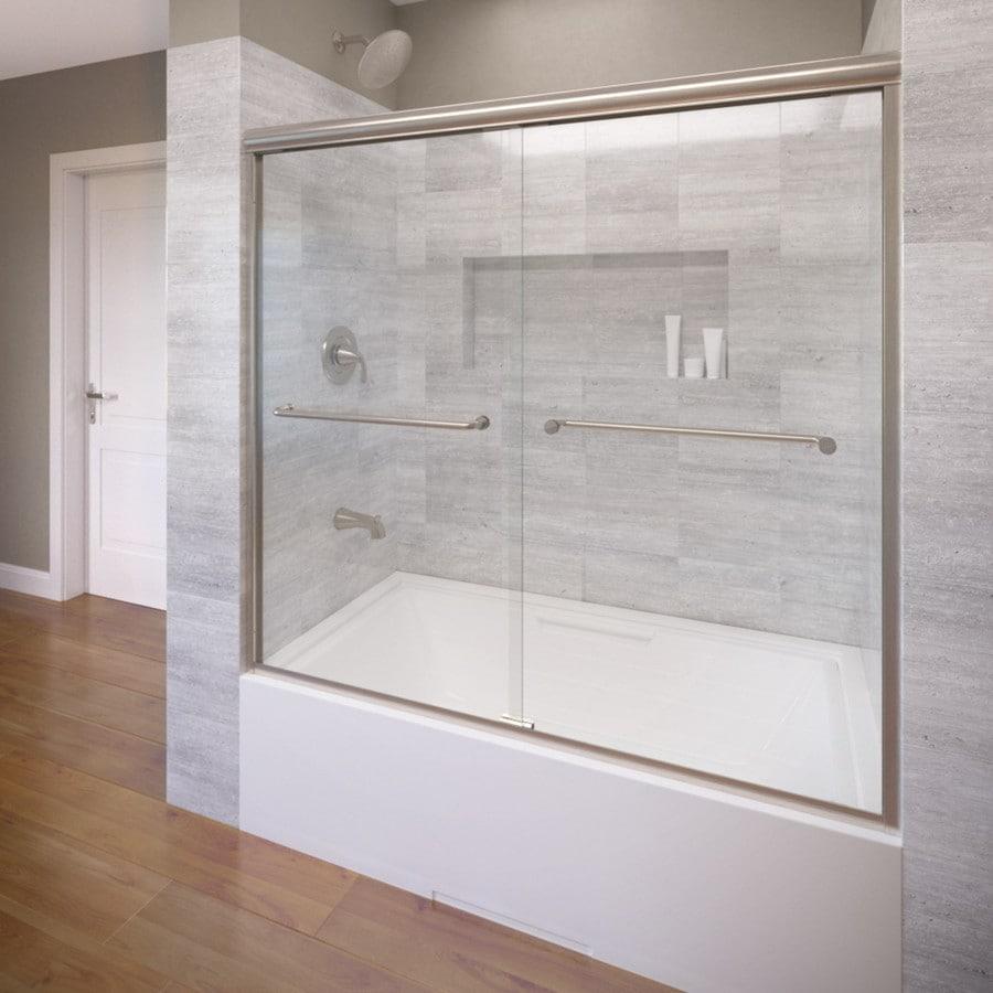 Basco 58.5-in W x 57-in H Brushed Nickel Frameless Bathtub Door
