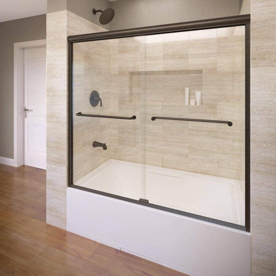 Basco 58.5-in W x 57-in H Oil-Rubbed Bronze Frameless Bathtub Door
