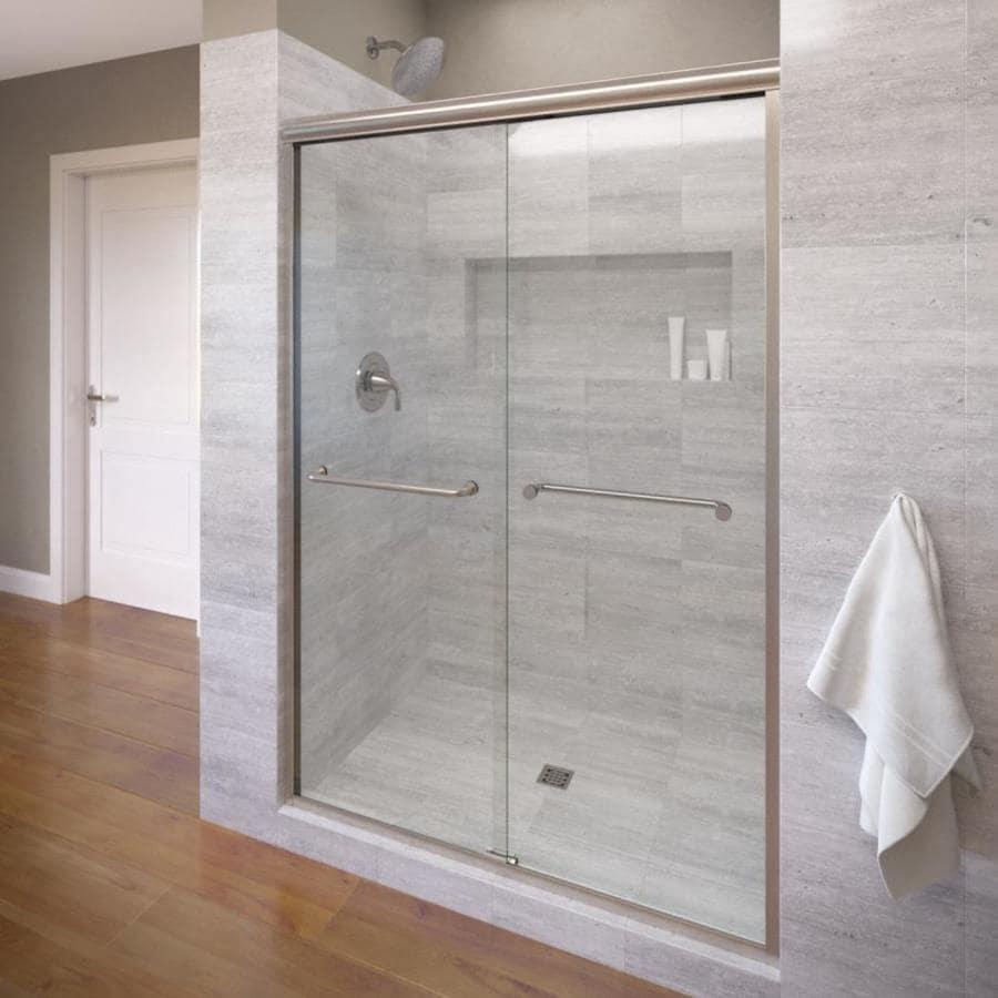 Basco Infinity 44-in to 47-in Frameless Brushed Nickel Shower Door