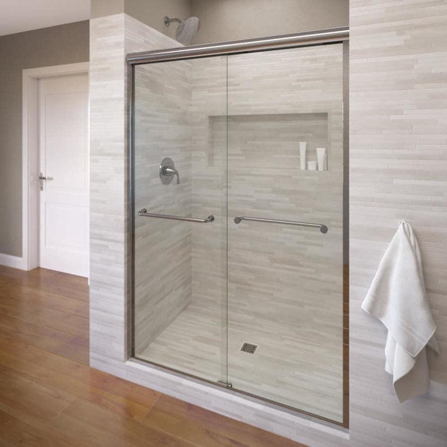 Basco Infinity 44-in to 47-in Frameless Silver Shower Door