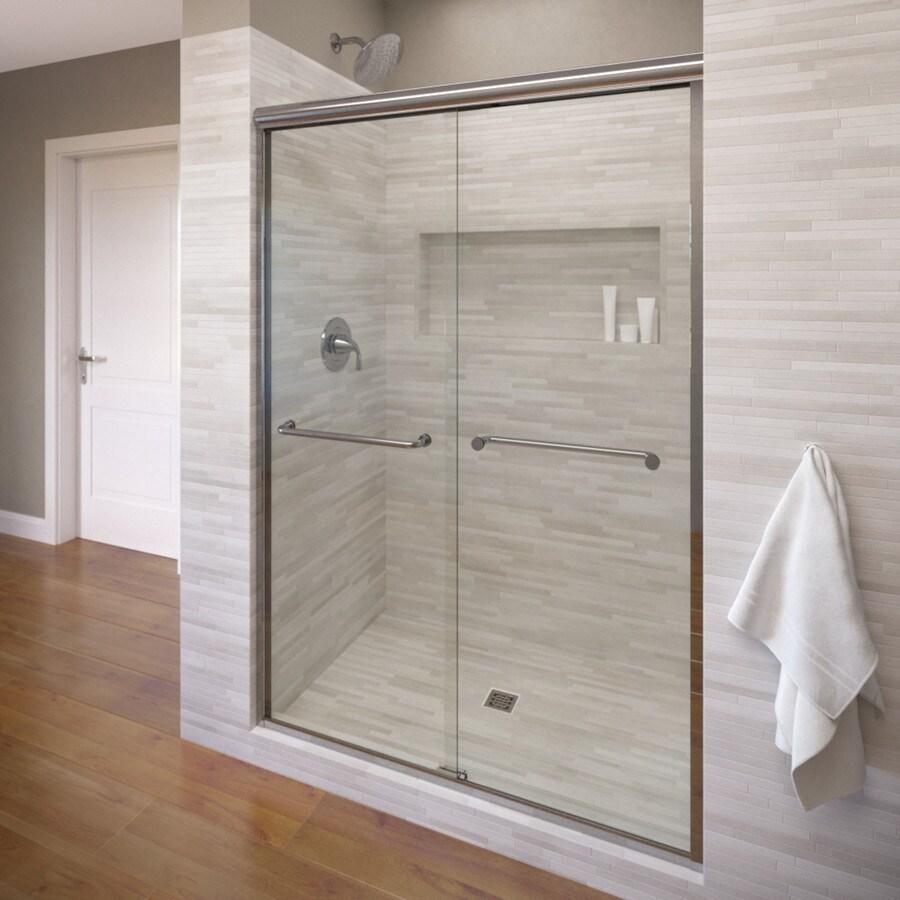 Basco Infinity 56-in to 58.5-in Frameless Silver Shower Door