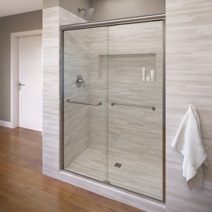 Basco Infinity 56-in to 58.5-in Frameless Silver Shower Door