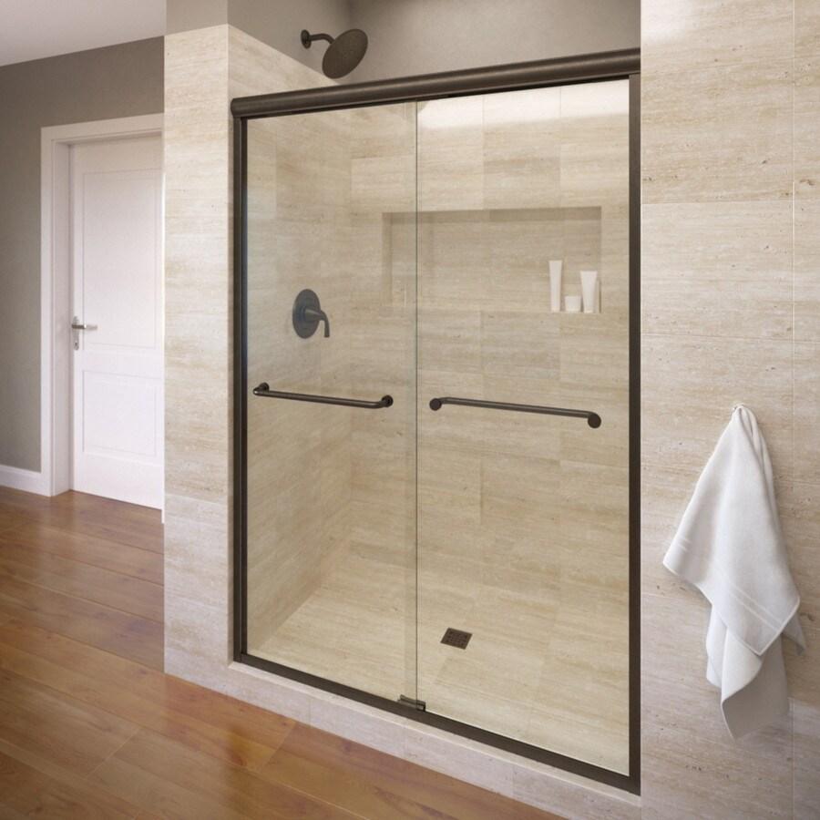 Basco Infinity 56-in to 58.5-in Frameless Oil Rubbed Bronze Shower Door
