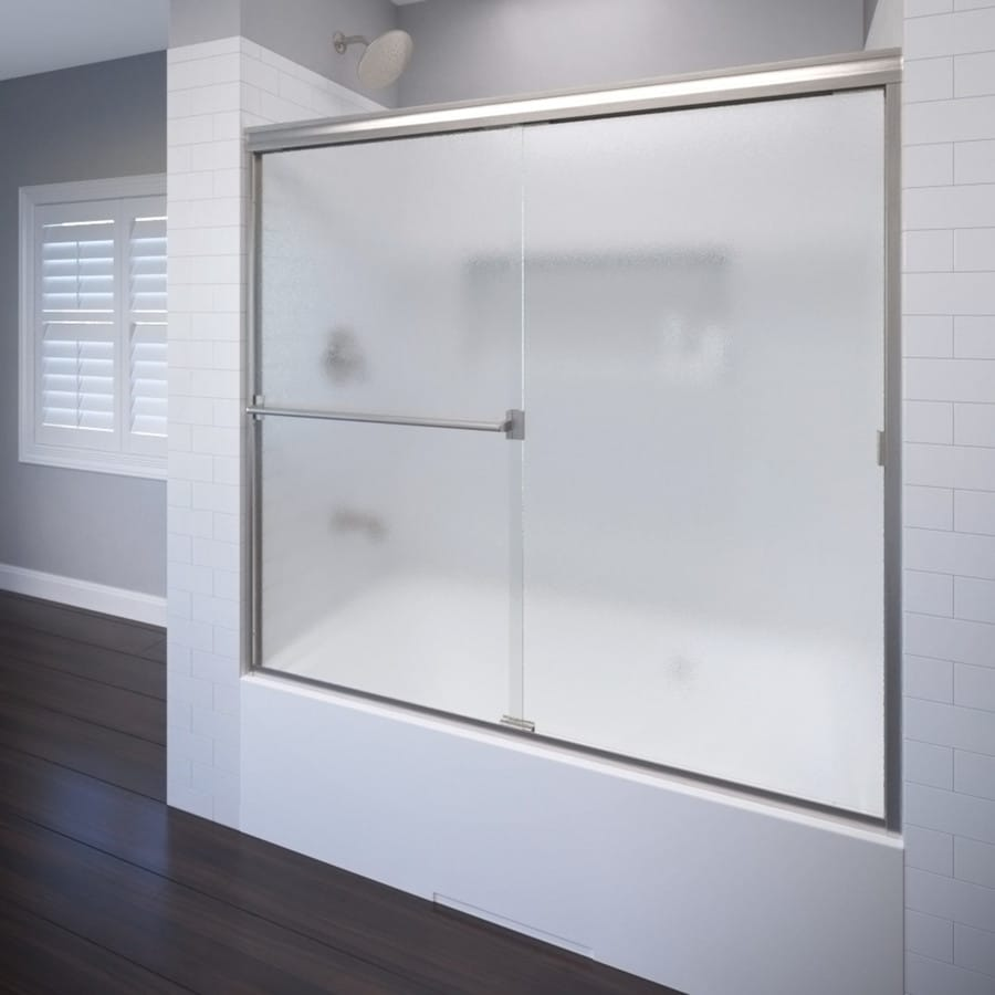 Shop Basco 60-in W x 57-in H Brushed Nickel Frameless Bathtub Door ...