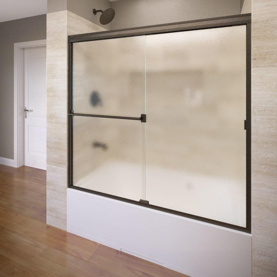 Basco 60-in W x 57-in H Oil-Rubbed Bronze Frameless Bathtub Door