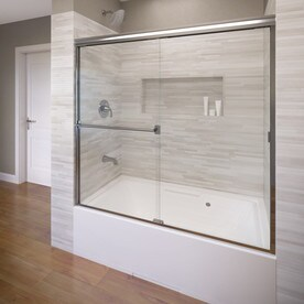 Attractive Basco 60 In W X 57 In H Silver Frameless Bathtub Door