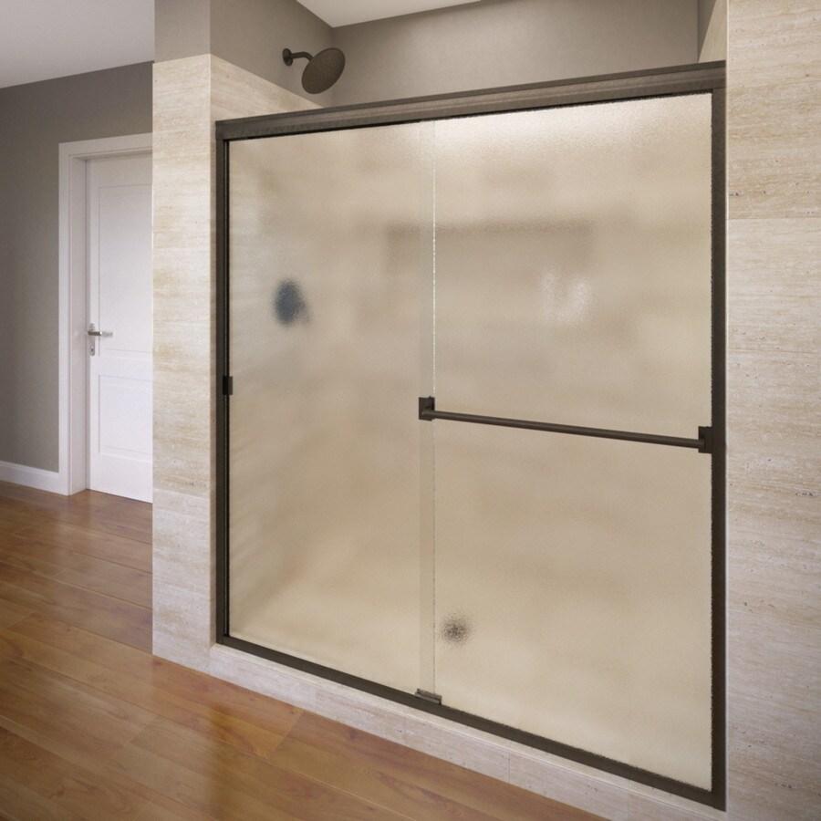 Basco Classic 56-in to 60-in Frameless Oil Rubbed Bronze Shower Door