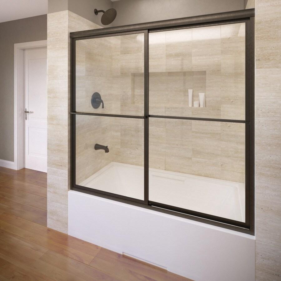 Basco 59-in W x 58.5-in H Oil-Rubbed Bronze Bathtub Door