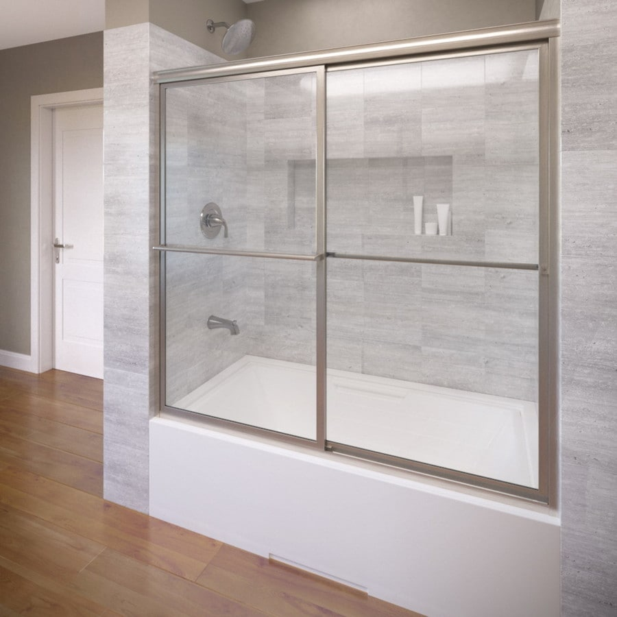 Basco 59-in W x 58.5-in H Brushed Nickel Bathtub Door