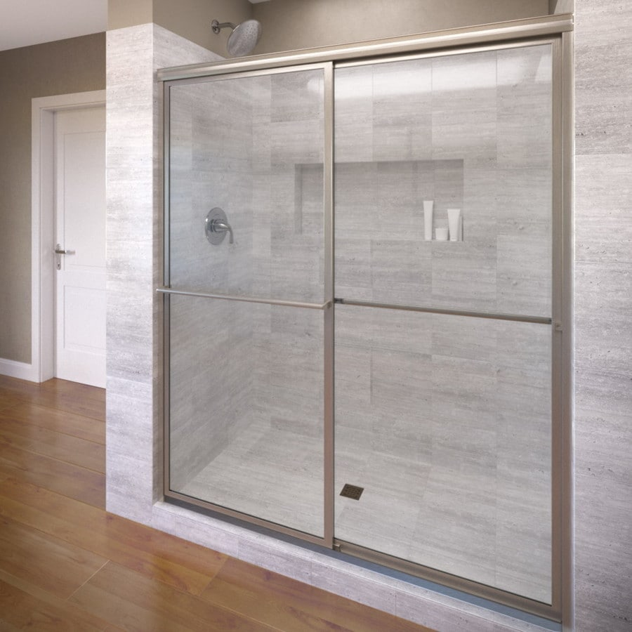 Basco Deluxe 45-in to 47-in Framed Brushed Nickel Shower Door
