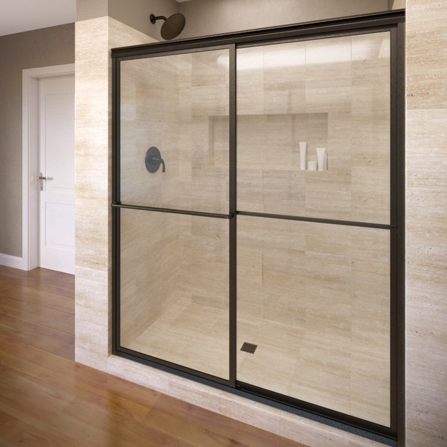 Basco Deluxe 45-in to 47-in W Framed Oil Rubbed Bronze Sliding Shower Door