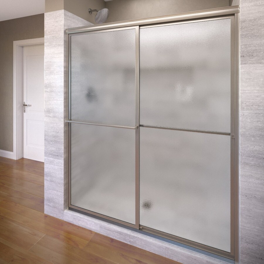 Basco Deluxe 56-in to 59-in W Framed Brushed Nickel Sliding Shower Door