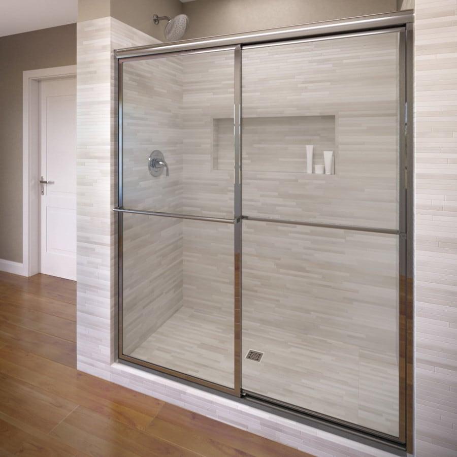 Basco Deluxe 56-in to 59-in W Framed Silver Sliding Shower Door