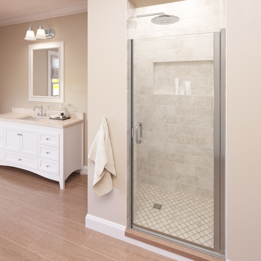 Shop Basco Infinity 27-in to 28-in W Chrome Hinged Shower Door at ...