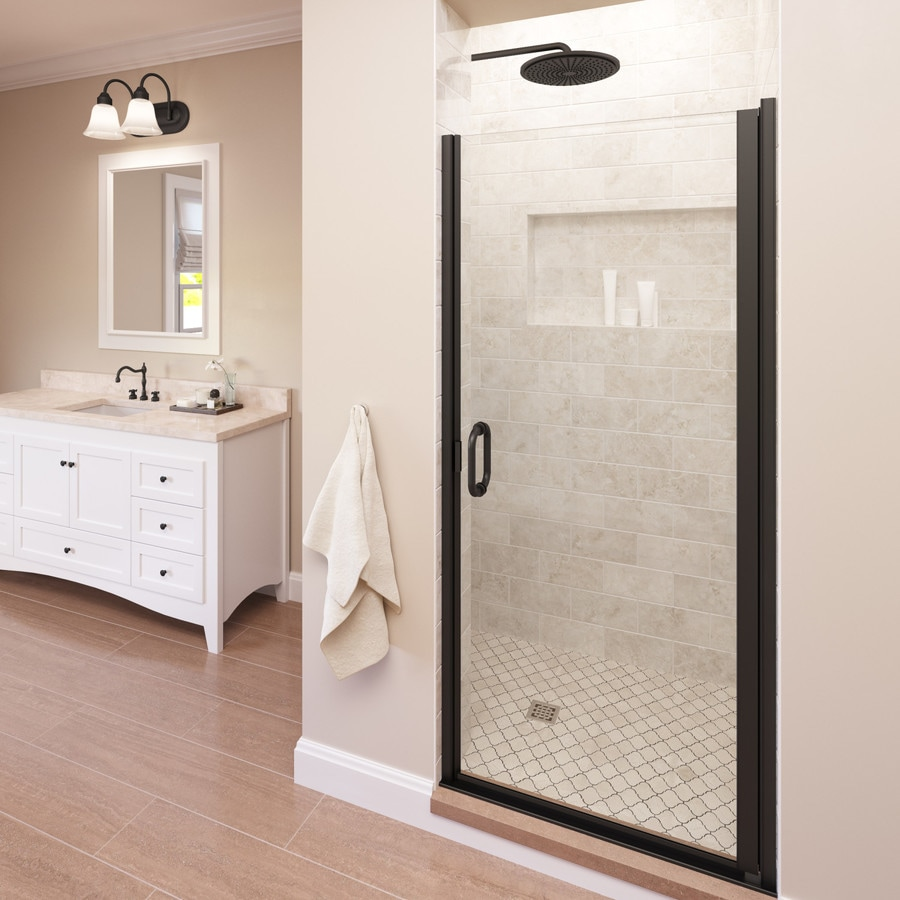 Basco Infinity 76 In H X 27 In To 28 In W Semi Frameless Hinged Oil Rubbed Bronze Shower Door Clear Glass In The Shower Doors Department At Lowes Com