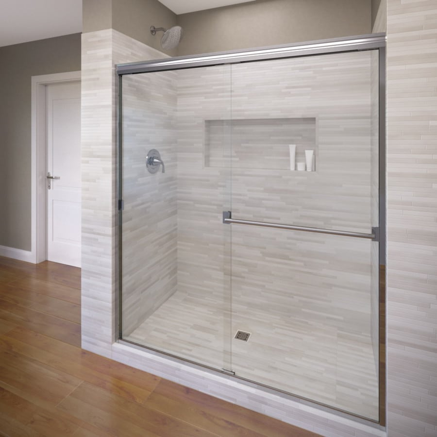 Basco Classic 56-in to 60-in Frameless Silver Shower Door
