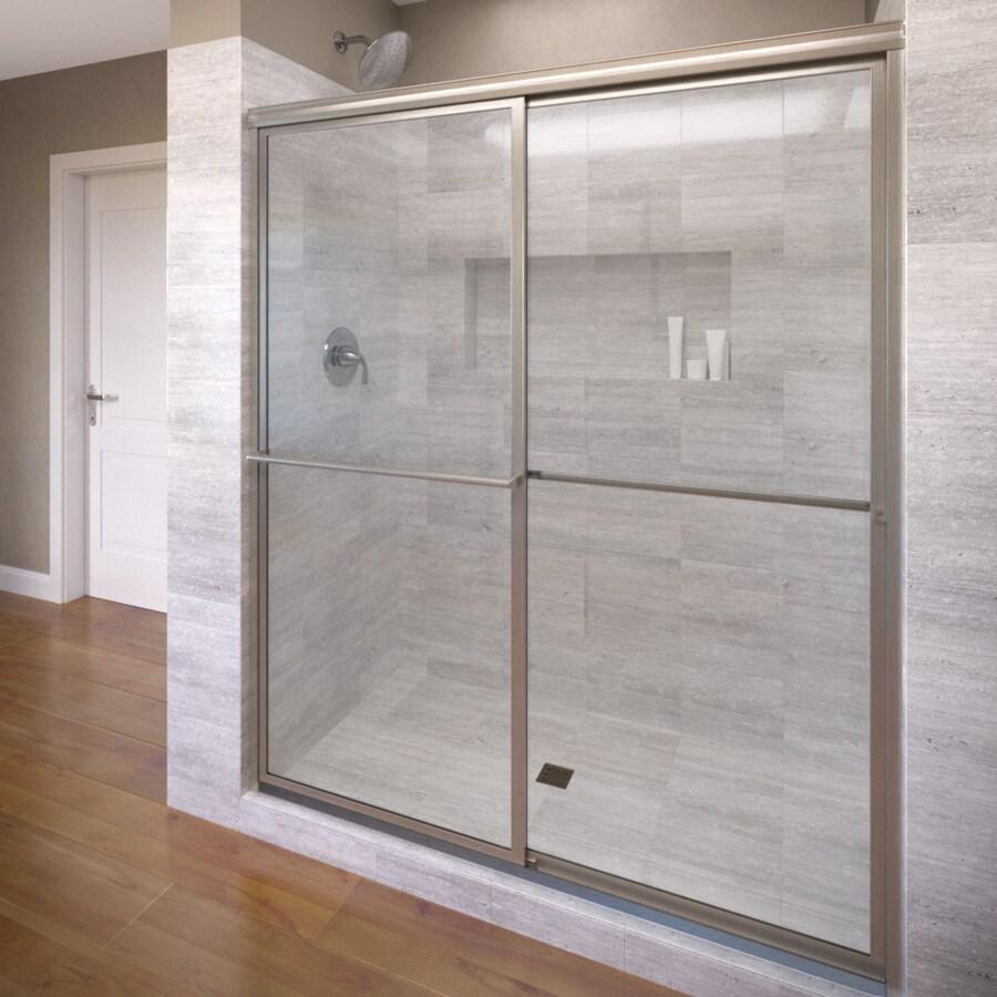 Basco Deluxe 45-in to 47-in Framed Brushed Nickel Shower Door