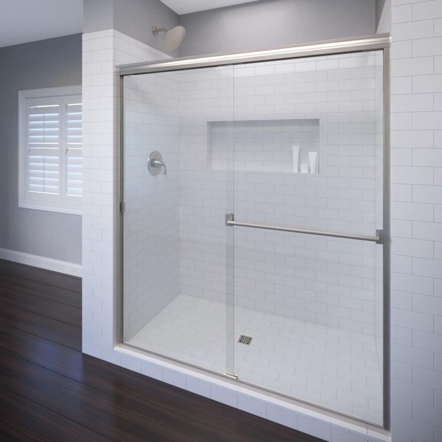 Basco Classic 44-in to 47-in Frameless Brushed Nickel Shower Door