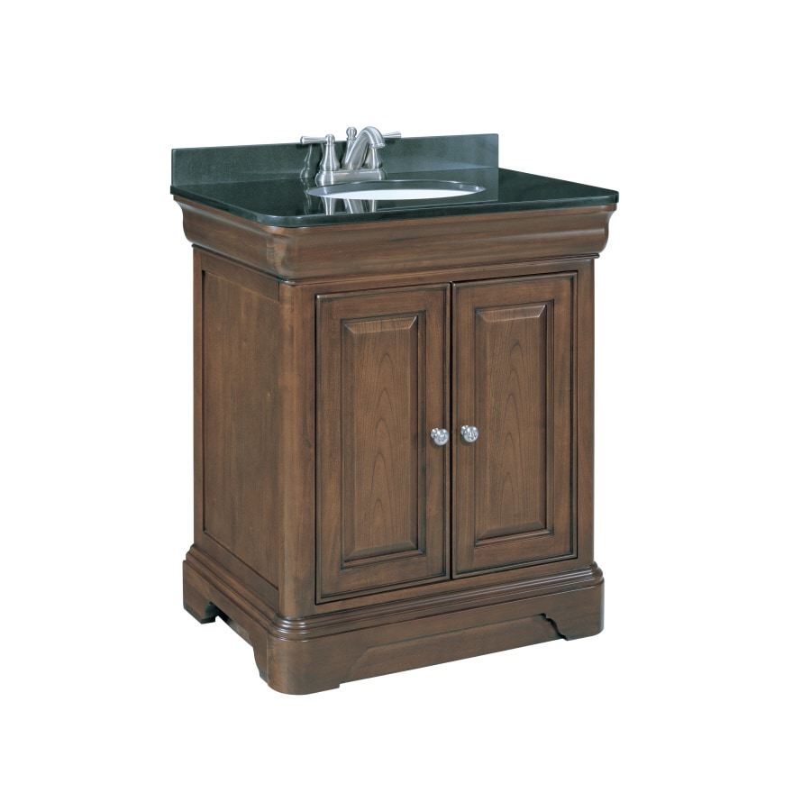 Shop Allen Roth Fenella Rich Cherry Undermount Single Sink Bathroom Vanity With Granite Top