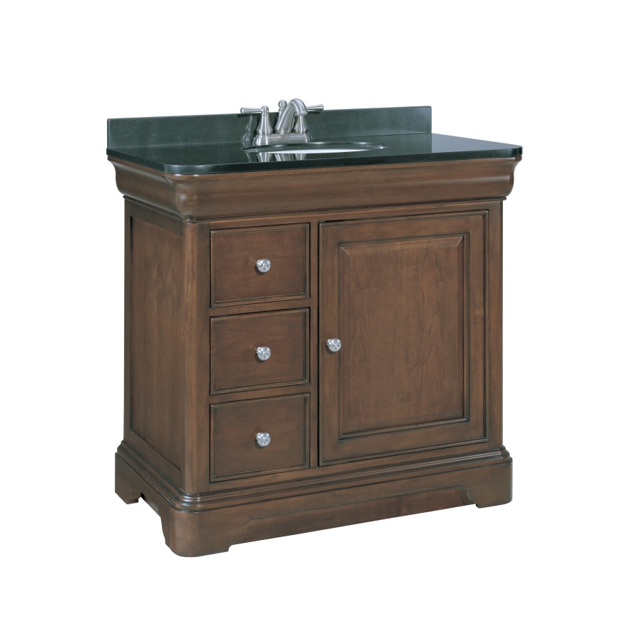 shop allen roth fenella rich cherry undermount single sink bathroom vanity with granite top. Black Bedroom Furniture Sets. Home Design Ideas