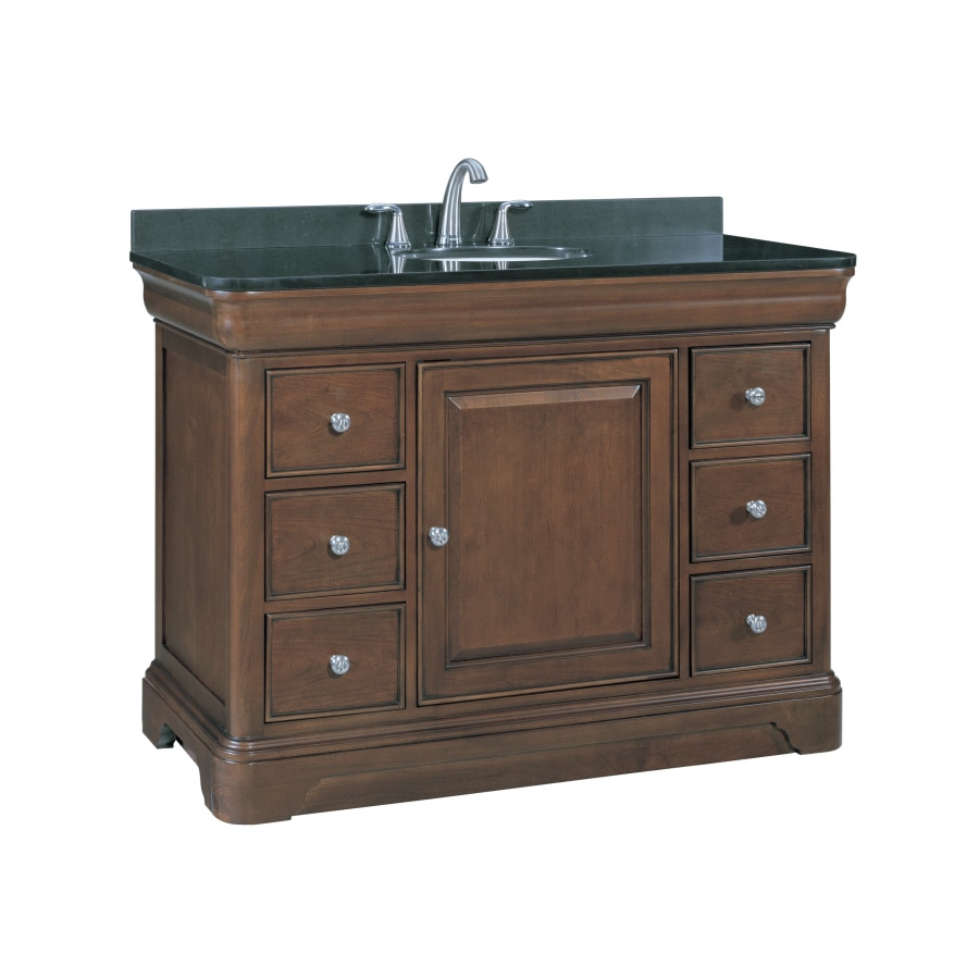 Shop allen roth fenella rich cherry undermount single for Granite bathroom vanity