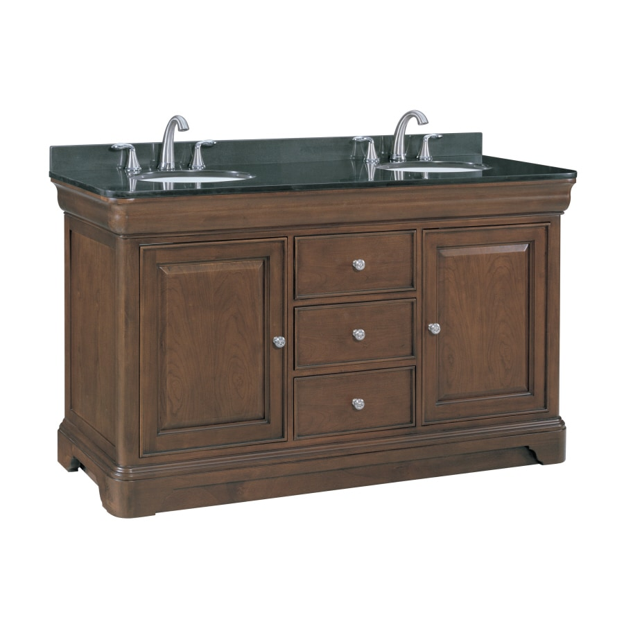 allen + roth Fenella Rich Cherry 60.5-in Undermount Double Sink Poplar Bathroom Vanity with Granite Top