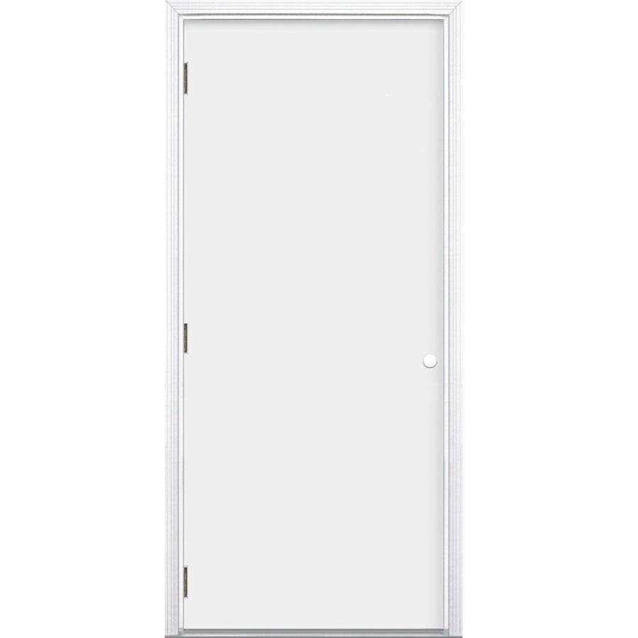 Jeld wen right hand outswing primed steel prehung entry door with insulating core common 36 in 36 x 80 outswing exterior door