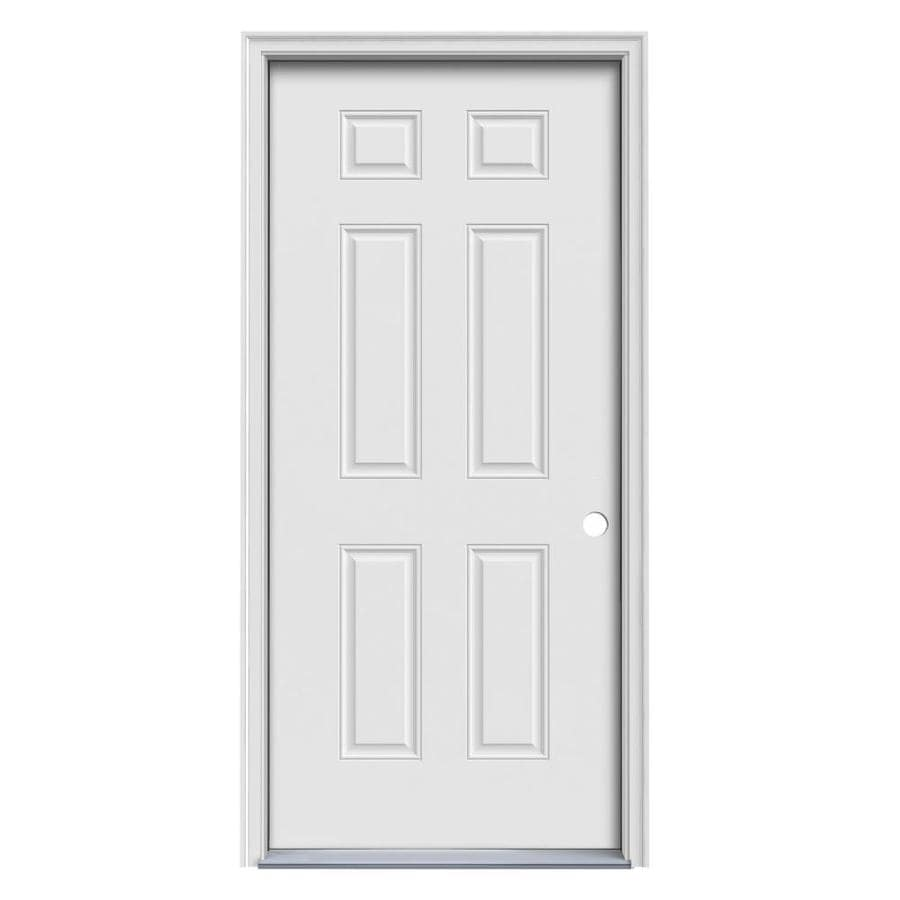 Prosteel Door Prosteel 6 Panel Insulating Core Left Hand Inswing Primed Steel Primed Prehung