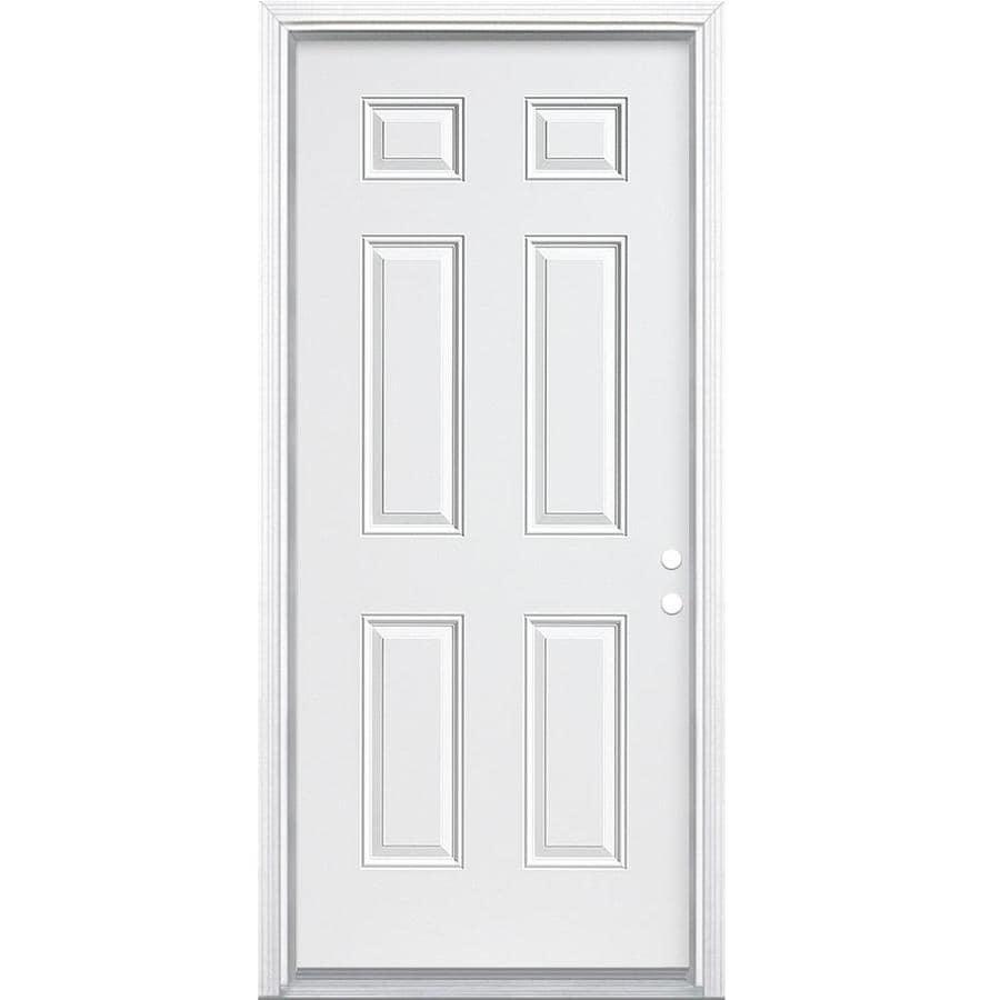 ReliaBilt 6-Panel Insulating Core Left-Hand Inswing Steel Primed Prehung Entry Door (Common: 32-in x 80-in; Actual: 33.5-in x 81.5-in)