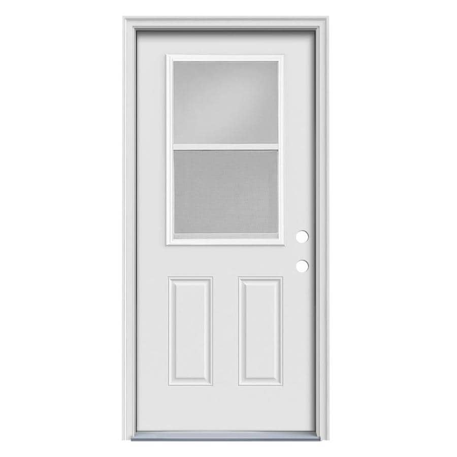ReliaBilt 2-Panel Insulating Core Vented Glass with Screen Left-Hand Inswing Steel Primed Prehung Entry Door (Common: 32-in x 80-in; Actual: 33.5-in x 81.5-in)
