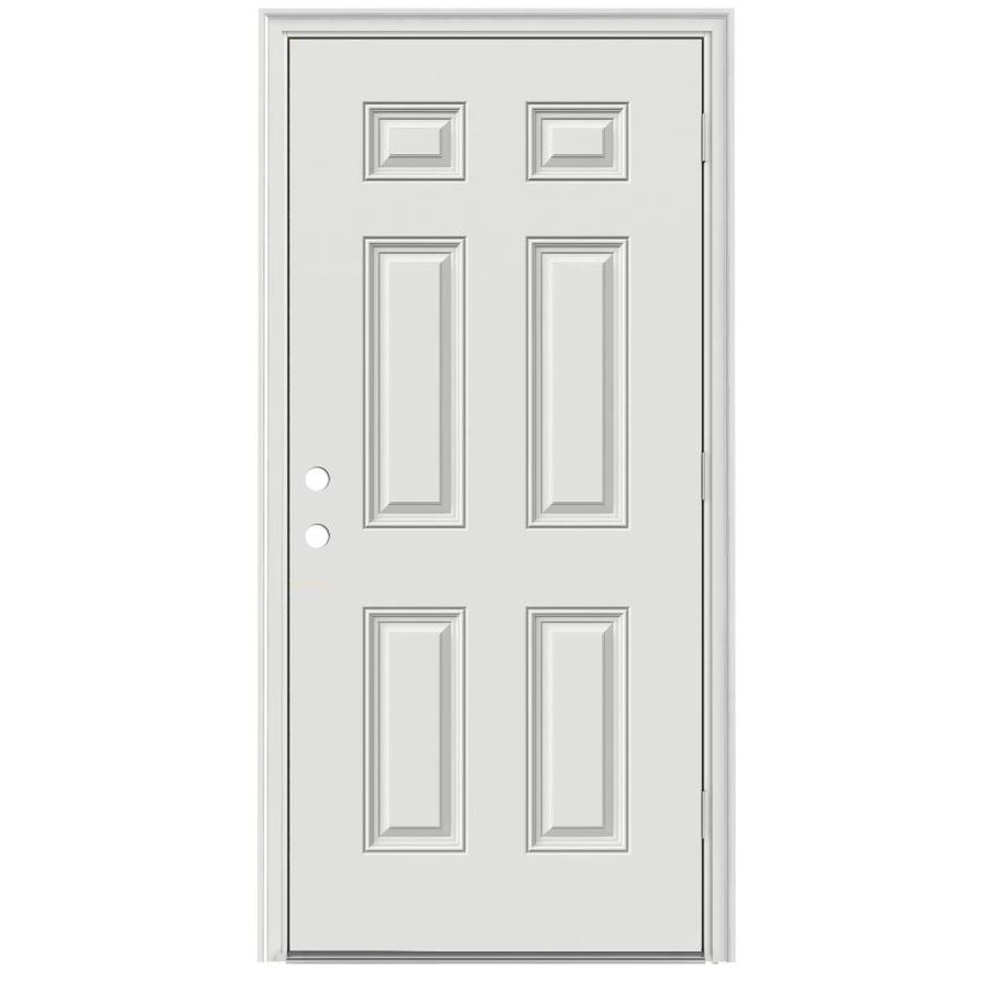 ReliaBilt Left-Hand Outswing Primed Steel Prehung Entry Door with Insulating Core (Common: 36-in x 80-in; Actual: 33.5000-in x 80.3750-in)