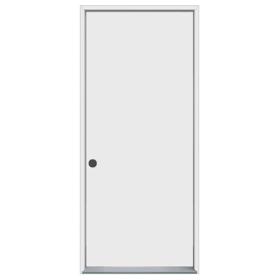 ProSteel Decorative Glass Right-Hand Inswing Primed Steel Prehung Entry Door with Insulating Core (Common: 32-in x 80-in; Actual: 33.5000-in x 81.7500-in)