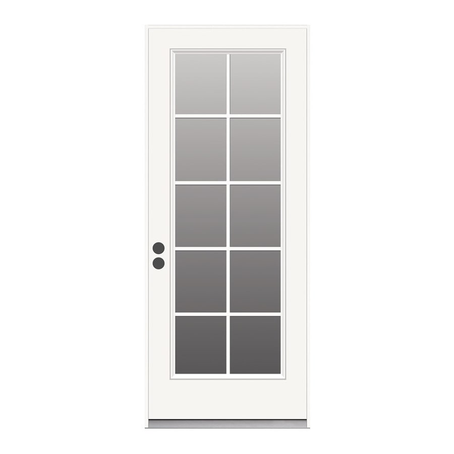 JELD-WEN 1-Panel Insulating Core 10-Lite Right-Hand Inswing Steel Primed Prehung Entry Door (Common: 32-in x 80-in; Actual: 33.5-in x 81.75-in)