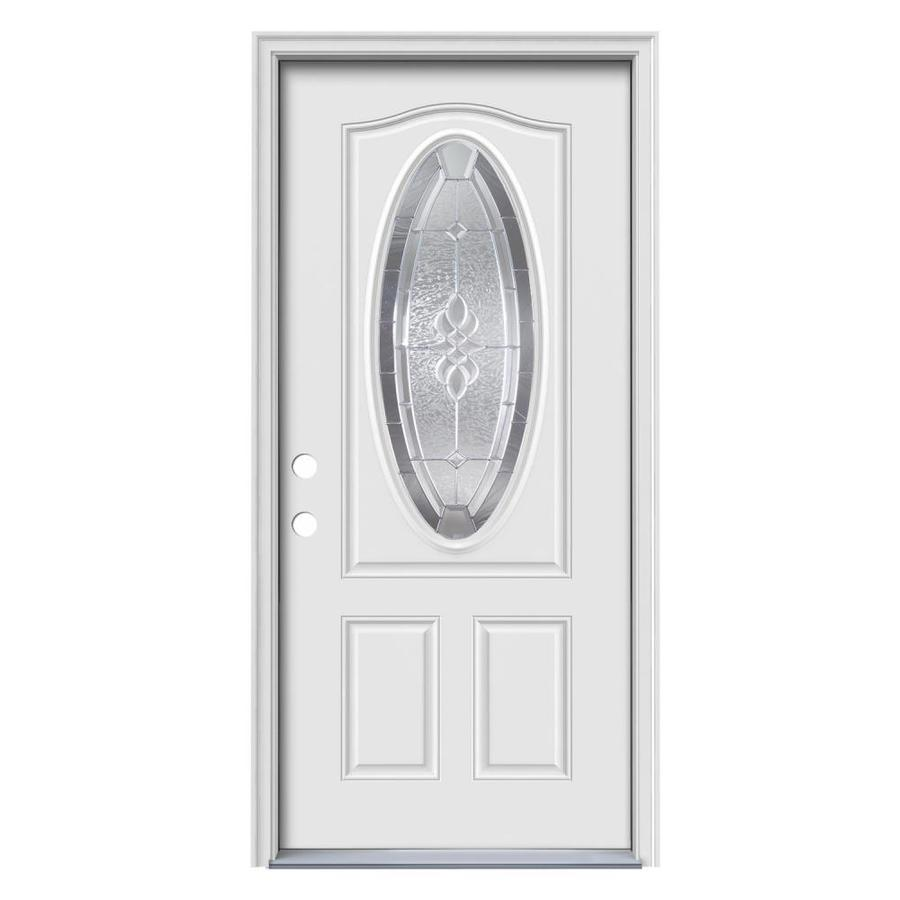 ReliaBilt Hampton Decorative Glass Right Hand Inswing Primed Steel Prehung Entry  Door With Insulating Core
