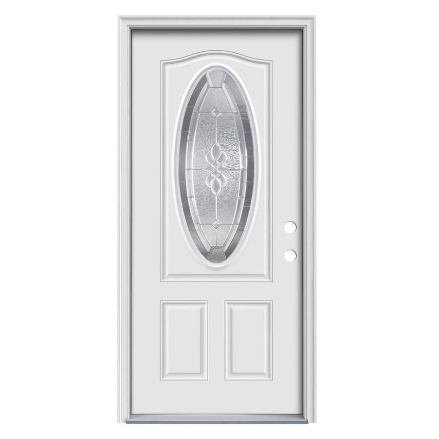 ReliaBilt Hampton 2-Panel Insulating Core Oval Lite Left-Hand Inswing Primed Steel Primed Prehung Entry Door (Common: 32.0000-in x 80.0000-in; Actual: 33.5000-in x 81.7500-in)