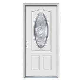 ReliaBilt Hampton Decorative Glass Steel Primed Entry Door